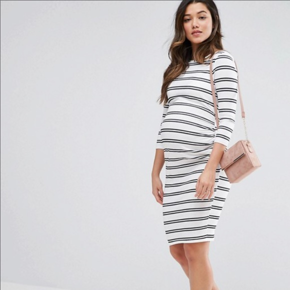 44631a7dbf0 ASOS Maternity Dresses   Skirts - ASOS Maternity Twin Stripe Bodycon Dress